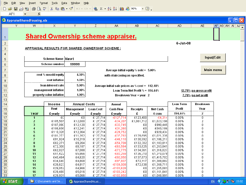shared ownership housing appraiser outputs